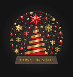 decorative snow globe with christmas tree vector image