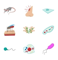 Disease malaria icons set cartoon style vector