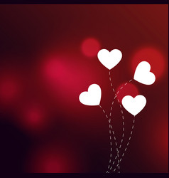 elegant hearts on red bokeh background vector image