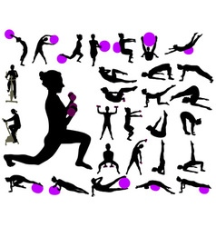 Excercise collection silhouettes vs vector