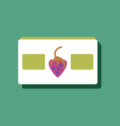 flat icon design videocassette and strawberry in vector image vector image