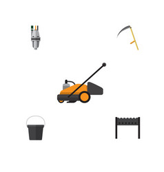Flat icon farm set of pail pump lawn mower and vector