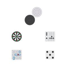Flat icon play set of gomoku backgammon arrow vector
