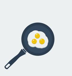 Fried eggs breakfast food in style eat vector