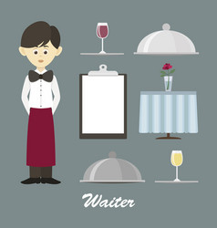 Isolated professional waiter vector