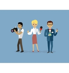 Journalists Team People Group Flat Style vector image