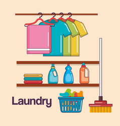Laundry service clean hanger clothes basket broom vector