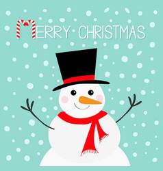 merry christmas candy cane snowman face head vector image vector image