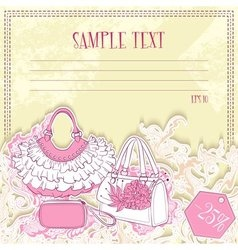 Message card with handbags vector image