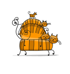red cats family sketch for your design vector image