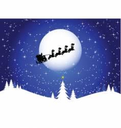 Santa in the sky vector image vector image