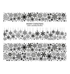 seamless snowflake border collection xmas set vector image vector image