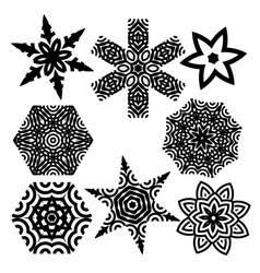 set of elements for design stylized star mandala vector image