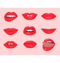 Set of glamour lips with red lipstick color vector image