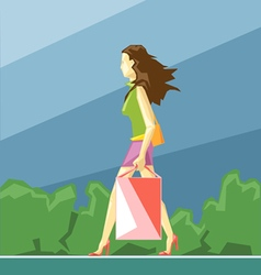 Shopping lady in green and pink clothes vector