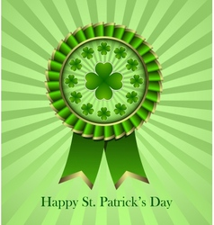 St Patricks Day Rosette Ribbon vector image