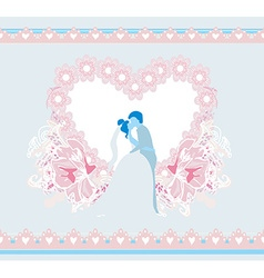 stylish wedding invitation card with kissing vector image vector image