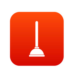 Toilet plunger icon digital red vector