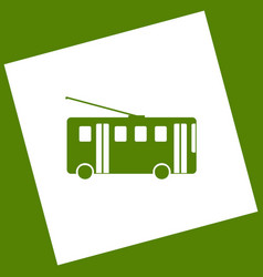 Trolleybus sign white icon obtained as a vector
