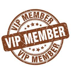 Vip member brown grunge stamp vector