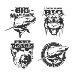 Retro labels with grizzly shark and tiger vector image