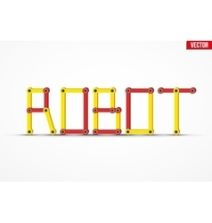 Word robot of the mechanical parts vector
