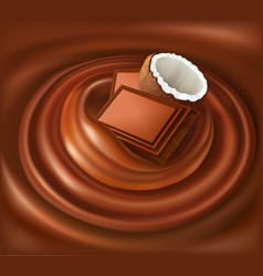 chocolate candy background swirl with coconut vector image