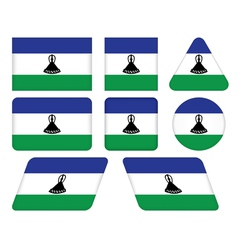 Buttons with flag of lesotho vector
