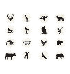 Set of wild animal figures and shapes with vector