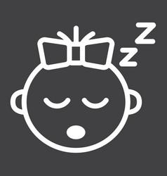 Baby girl sleep line icon child and infant vector