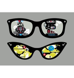 Retro sunglasses with black and green reflection vector