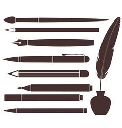 Pencil Pen Brush Felt Pen Feather vector image