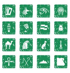 Egypt travel items icons set grunge vector