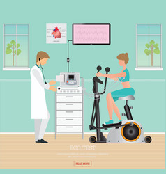 Ecg test or exercise test for heart disease on vector