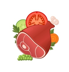 Ham meat with vegetables vector image