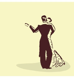 Young couple dancing the waltz vector