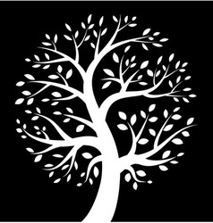 White tree icon on black background vector
