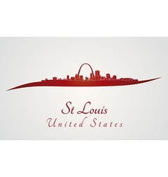 St louis skyline in red vector