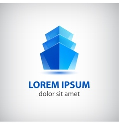 3d blue office building icon logo vector