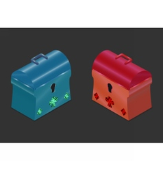 3d isometric chest blue and red vector