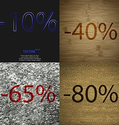 40 65 80 icon set of percent discount on abstract vector