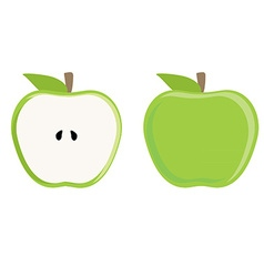 Green apple whole and half vector
