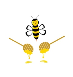 bee with honey yellow vector image