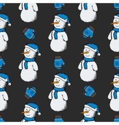 pattern of snowmen with gloves vector image