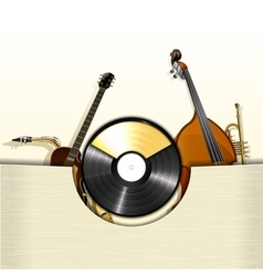 Vinyl record with envelope and jazz instruments vector