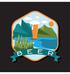 Flat design label of beer glass with mountains vector