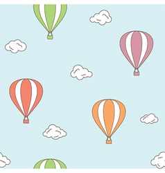 Hot air balloons seamless background vector