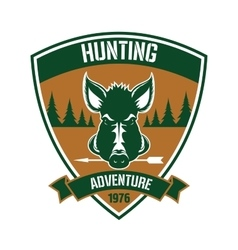 Triangular heraldic badge for hunting club design vector