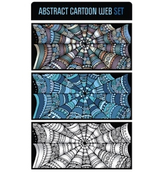 Abstract cartoon spider web background set vector image vector image