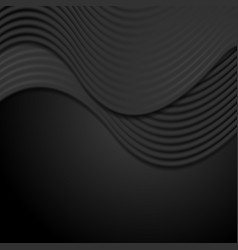 abstract smooth black waves background vector image